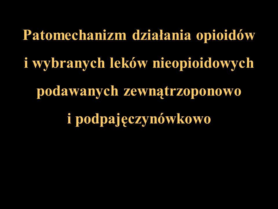 Patomechanizm działania opioidów i wybranych leków nieopioidowych podawanych zewnątrzoponowo i podpajęczynówkowo