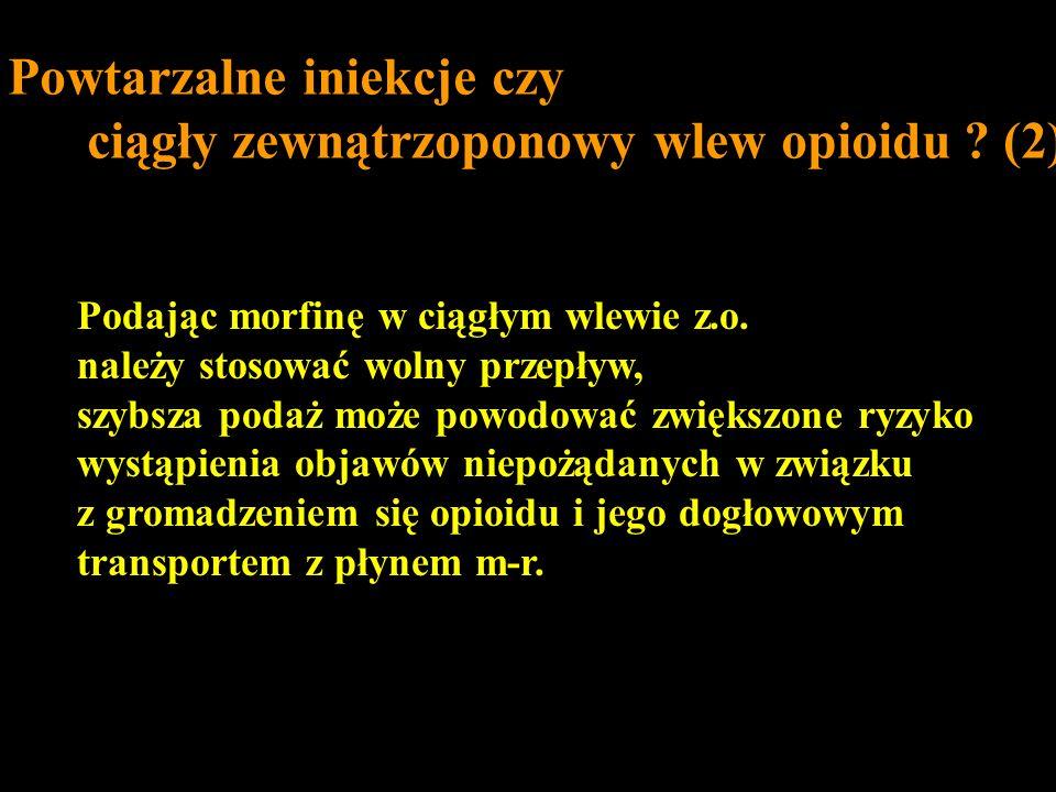 Podając morfinę w ciągłym wlewie z.o. należy stosować wolny przepływ, szybsza podaż może powodować zwiększone ryzyko wystąpienia objawów niepożądanych