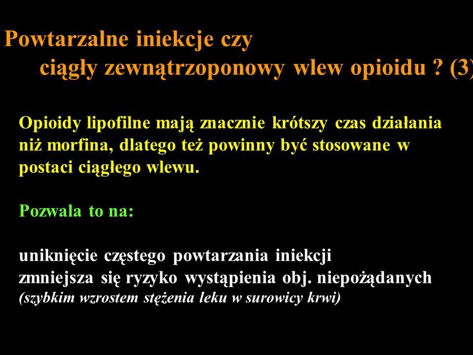 Opioidy lipofilne mają znacznie krótszy czas działania niż morfina, dlatego też powinny być stosowane w postaci ciągłego wlewu. Pozwala to na: uniknię