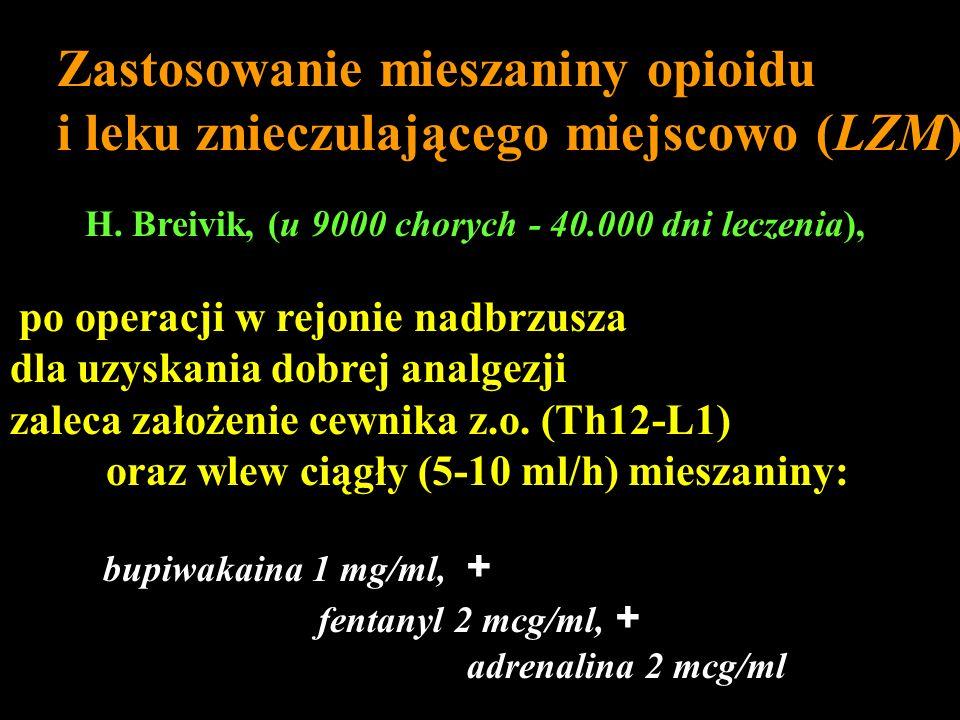 Zastosowanie mieszaniny opioidu i leku znieczulającego miejscowo (LZM) H. Breivik, (u 9000 chorych - 40.000 dni leczenia), po operacji w rejonie nadbr