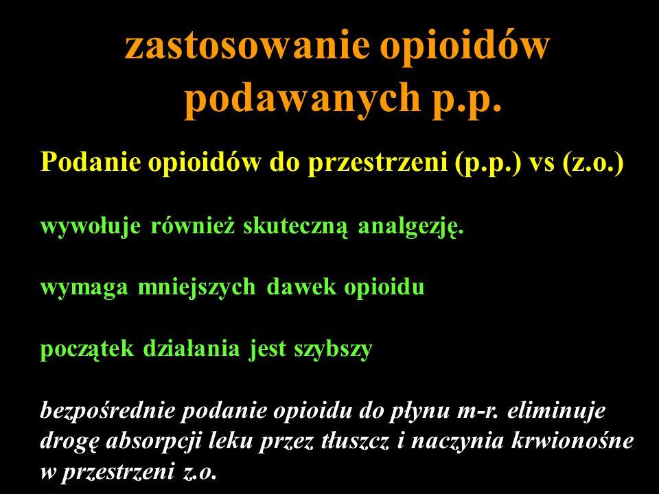 Podanie opioidów do przestrzeni (p.p.) vs (z.o.) wywołuje również skuteczną analgezję. wymaga mniejszych dawek opioidu początek działania jest szybszy