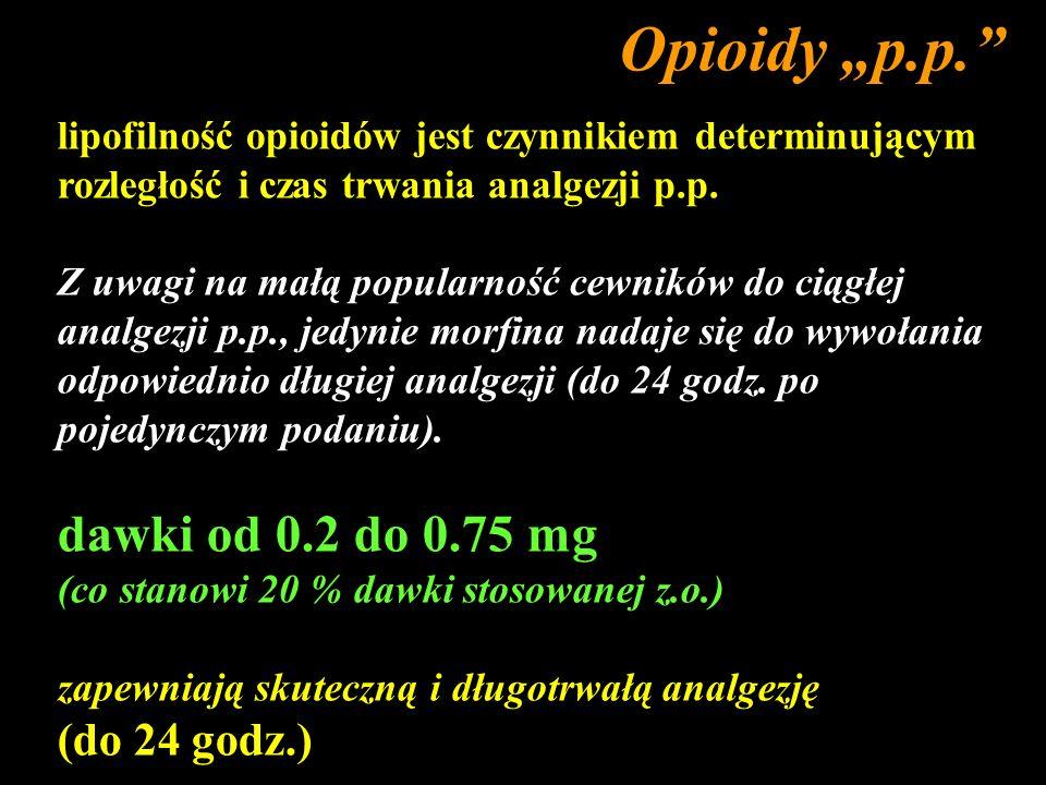 lipofilność opioidów jest czynnikiem determinującym rozległość i czas trwania analgezji p.p. Z uwagi na małą popularność cewników do ciągłej analgezji