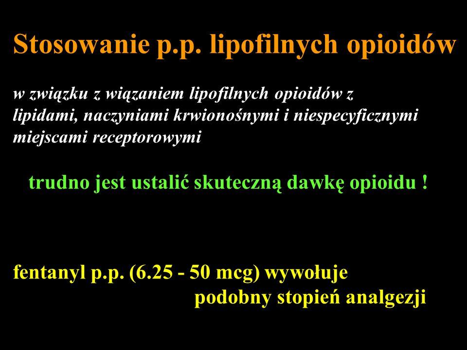 Stosowanie p.p. lipofilnych opioidów w związku z wiązaniem lipofilnych opioidów z lipidami, naczyniami krwionośnymi i niespecyficznymi miejscami recep