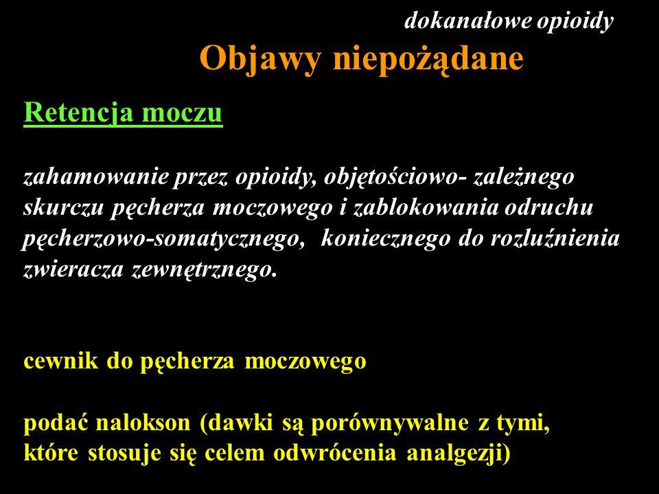 Retencja moczu zahamowanie przez opioidy, objętościowo- zależnego skurczu pęcherza moczowego i zablokowania odruchu pęcherzowo-somatycznego, konieczne