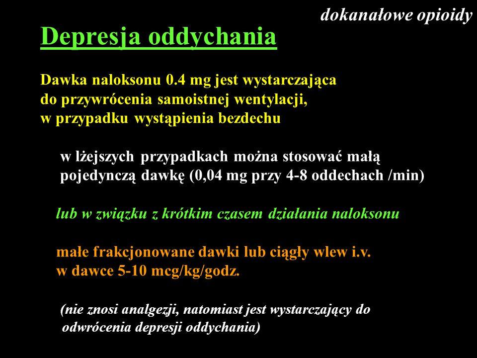 Depresja oddychania Dawka naloksonu 0.4 mg jest wystarczająca do przywrócenia samoistnej wentylacji, w przypadku wystąpienia bezdechu w lżejszych przy