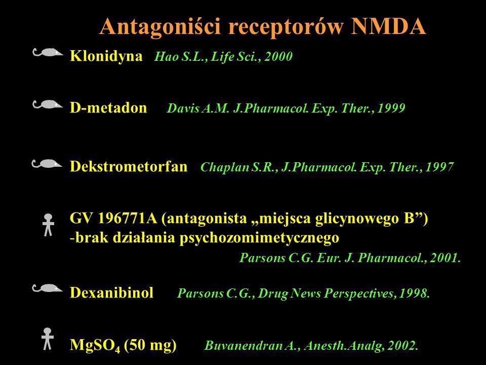 Antagoniści receptorów NMDA Klonidyna Hao S.L., Life Sci., 2000 D-metadon Davis A.M. J.Pharmacol. Exp. Ther., 1999 Dekstrometorfan Chaplan S.R., J.Pha