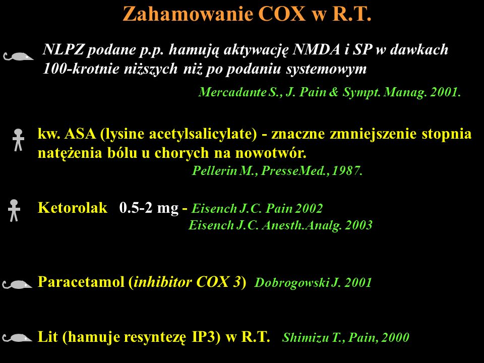 Zahamowanie COX w R.T. kw. ASA (lysine acetylsalicylate) - znaczne zmniejszenie stopnia natężenia bólu u chorych na nowotwór. Pellerin M., PresseMed.,
