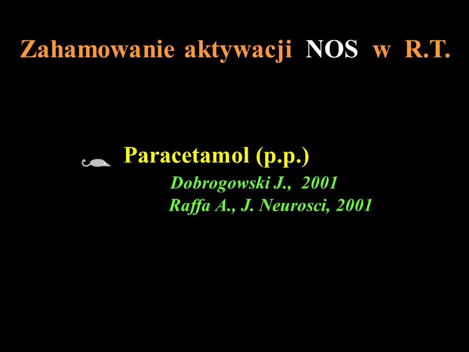 Zahamowanie aktywacji NOS w R.T. Paracetamol (p.p.) Dobrogowski J., 2001 Raffa A., J. Neurosci, 2001