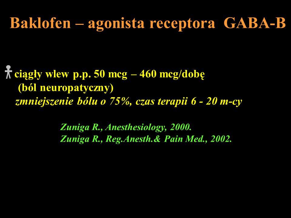 Baklofen – agonista receptora GABA-B ciągły wlew p.p. 50 mcg – 460 mcg/dobę (ból neuropatyczny) zmniejszenie bólu o 75%, czas terapii 6 - 20 m-cy Zuni