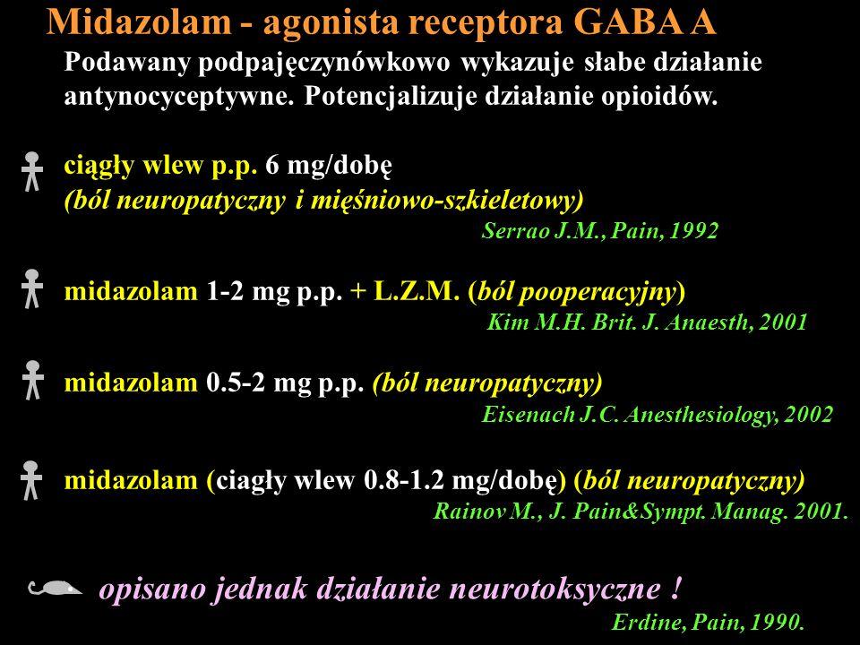 opisano jednak działanie neurotoksyczne ! Erdine, Pain, 1990. Podawany podpajęczynówkowo wykazuje słabe działanie antynocyceptywne. Potencjalizuje dzi