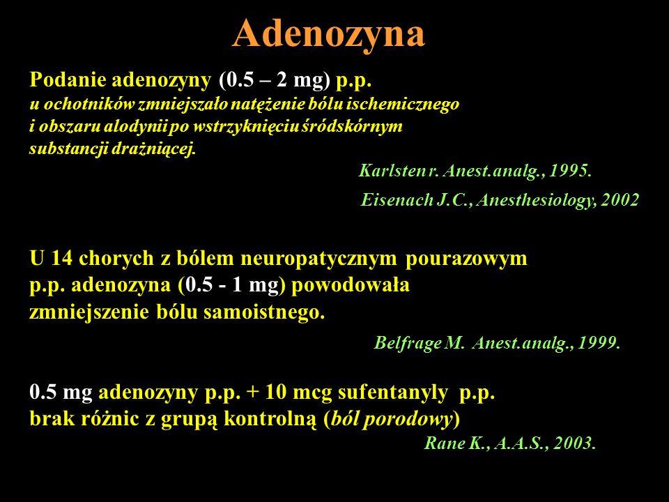 Adenozyna Podanie adenozyny (0.5 – 2 mg) p.p. u ochotników zmniejszało natężenie bólu ischemicznego i obszaru alodynii po wstrzyknięciu śródskórnym su