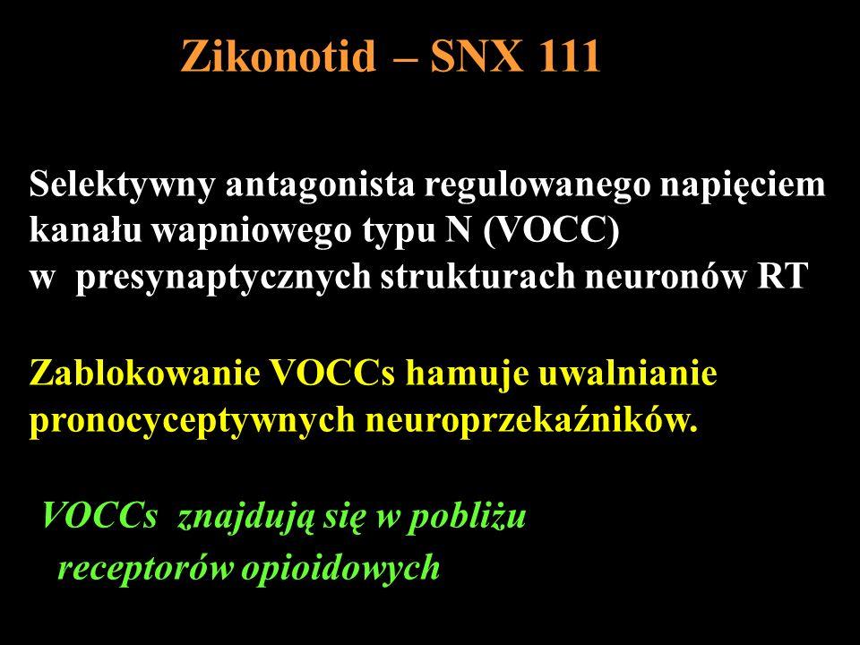 Selektywny antagonista regulowanego napięciem kanału wapniowego typu N (VOCC) w presynaptycznych strukturach neuronów RT Zablokowanie VOCCs hamuje uwa