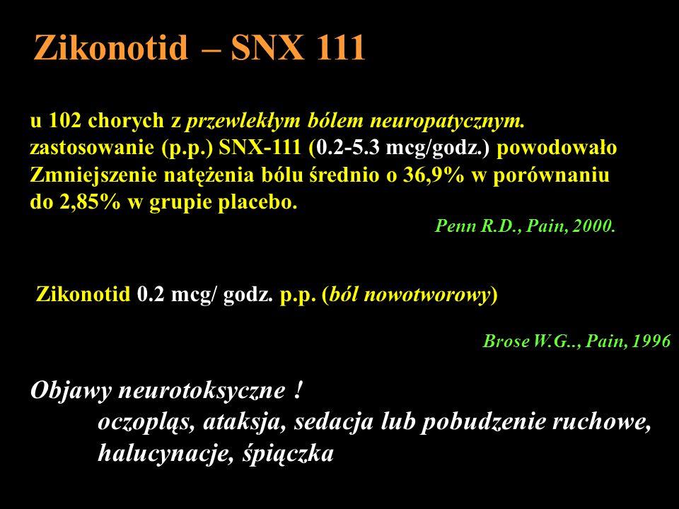 u 102 chorych z przewlekłym bólem neuropatycznym. zastosowanie (p.p.) SNX-111 (0.2-5.3 mcg/godz.) powodowało Zmniejszenie natężenia bólu średnio o 36,