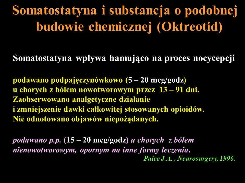 Somatostatyna wpływa hamująco na proces nocycepcji podawano podpajęczynówkowo (5 – 20 mcg/godz) u chorych z bólem nowotworowym przez 13 – 91 dni. Zaob