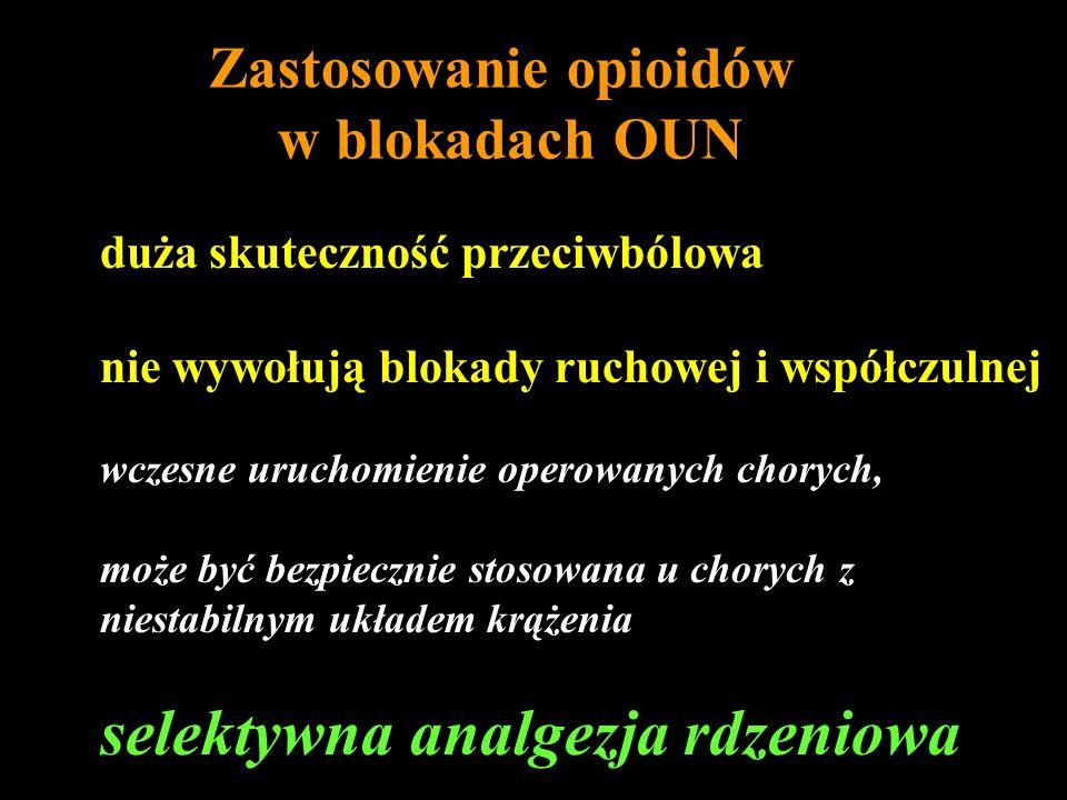 Zastosowanie opioidów w blokadach OUN duża skuteczność przeciwbólowa nie wywołują blokady ruchowej i współczulnej wczesne uruchomienie operowanych cho