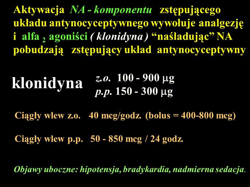 Objawy uboczne: hipotensja, bradykardia, nadmierna sedacja. Aktywacja NA - komponentu zstępującego układu antynocyceptywnego wywołuje analgezję i alfa