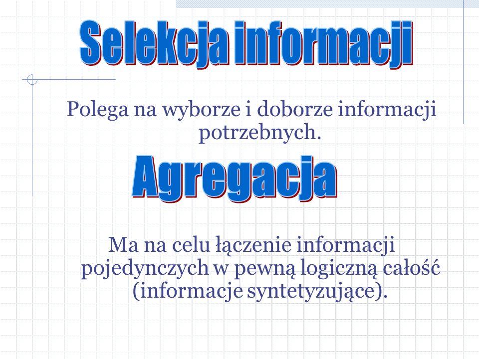 Polega na wyborze i doborze informacji potrzebnych. Ma na celu łączenie informacji pojedynczych w pewną logiczną całość (informacje syntetyzujące).
