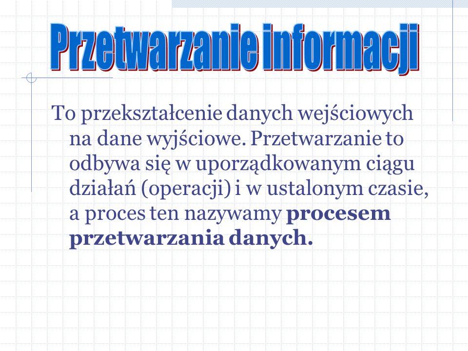 To przekształcenie danych wejściowych na dane wyjściowe. Przetwarzanie to odbywa się w uporządkowanym ciągu działań (operacji) i w ustalonym czasie, a