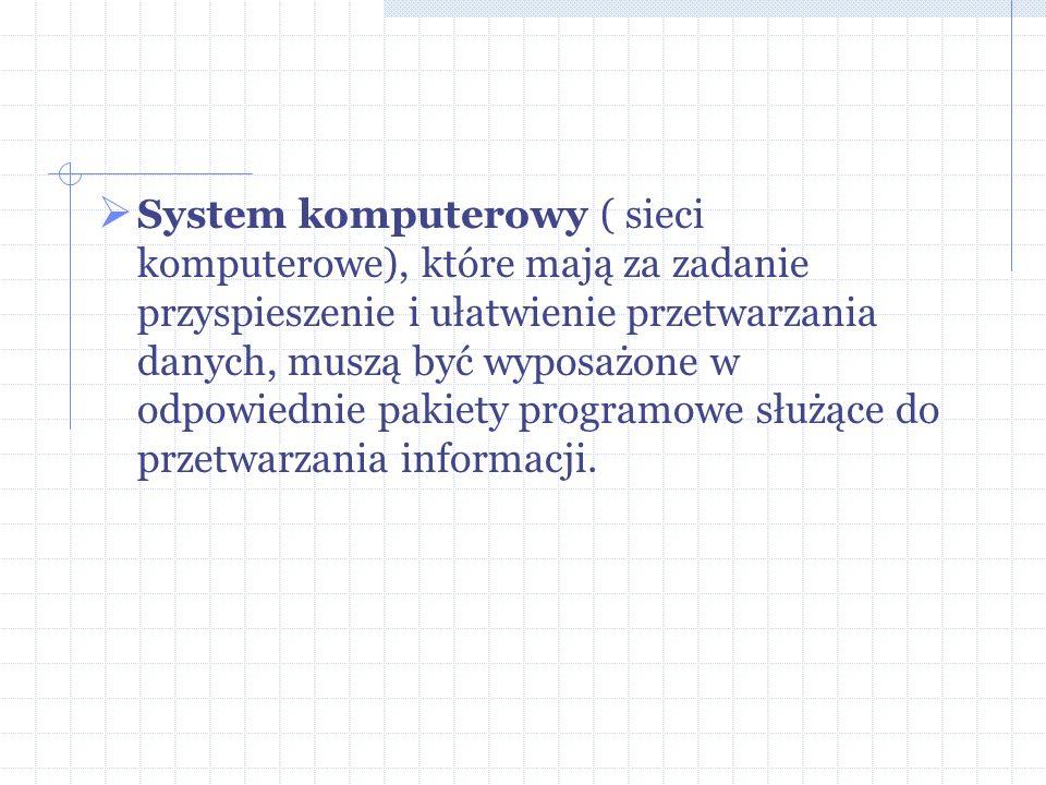 System komputerowy ( sieci komputerowe), które mają za zadanie przyspieszenie i ułatwienie przetwarzania danych, muszą być wyposażone w odpowiednie pa