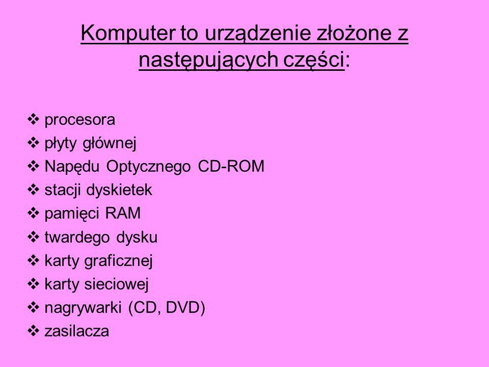 procesora płyty głównej Napędu Optycznego CD-ROM stacji dyskietek pamięci RAM twardego dysku karty graficznej karty sieciowej nagrywarki (CD, DVD) zas