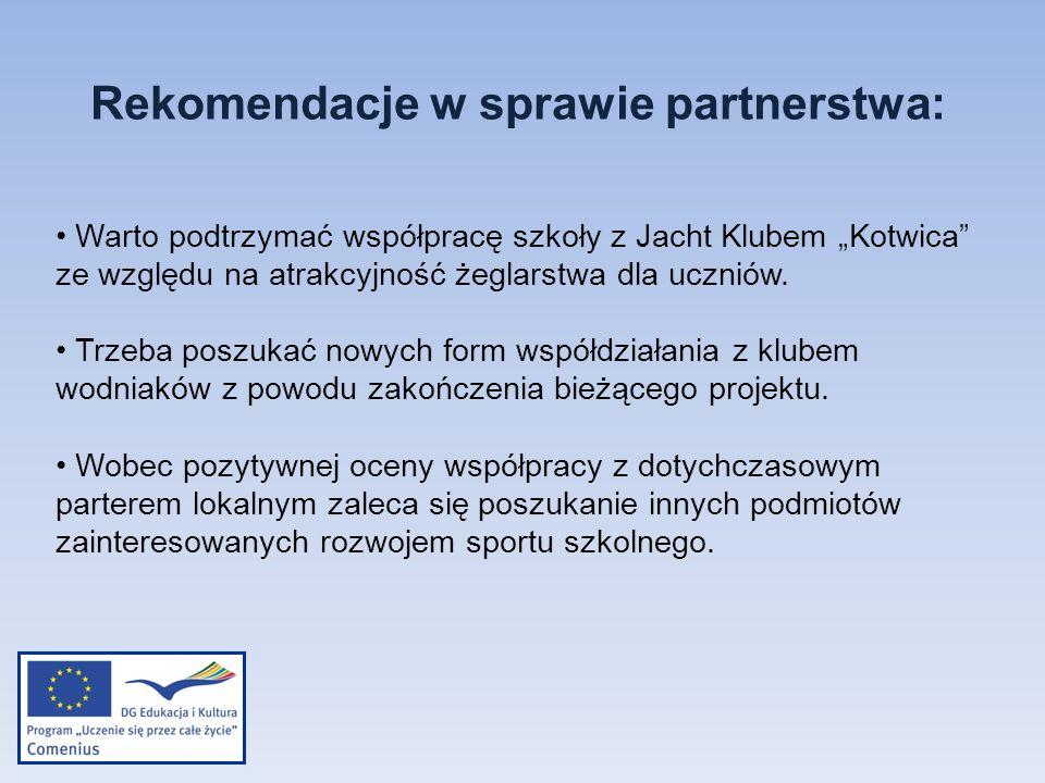 Rekomendacje w sprawie partnerstwa: Warto podtrzymać współpracę szkoły z Jacht Klubem Kotwica ze względu na atrakcyjność żeglarstwa dla uczniów. Trzeb