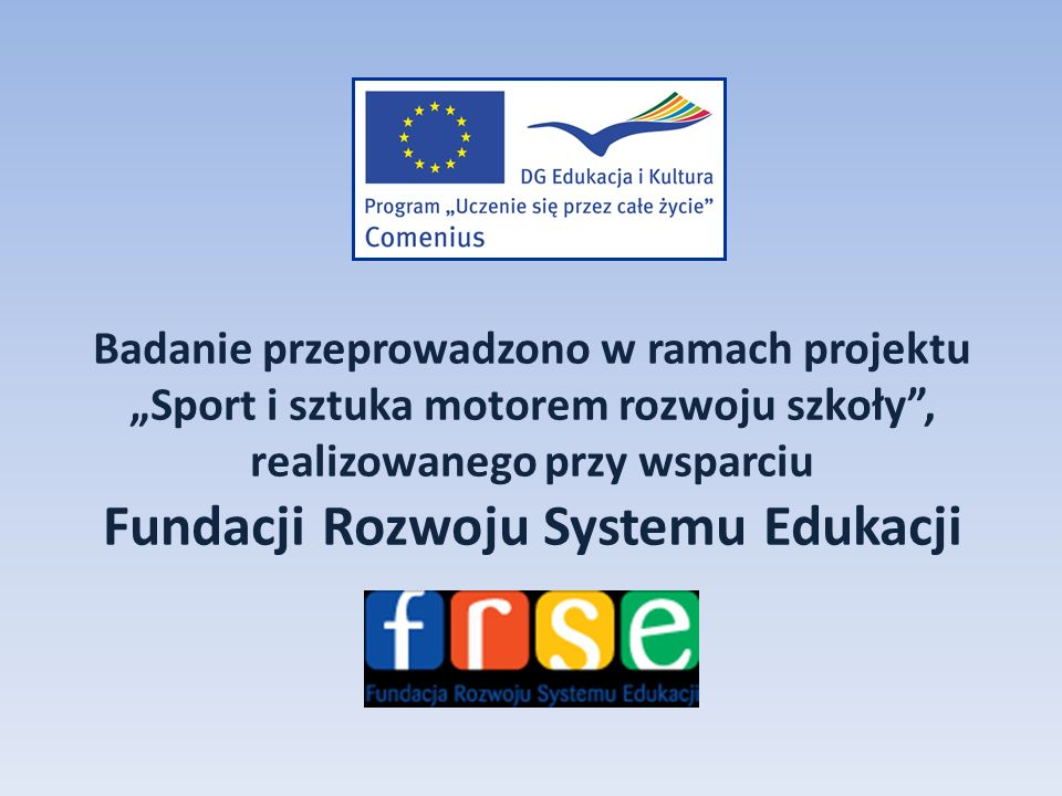 Badanie przeprowadzono w ramach projektu Sport i sztuka motorem rozwoju szkoły, realizowanego przy wsparciu Fundacji Rozwoju Systemu Edukacji
