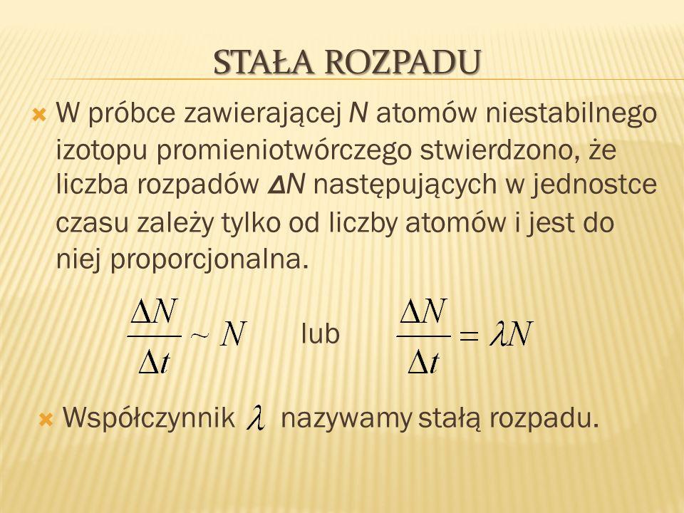 STAŁA ROZPADU W próbce zawierającej N atomów niestabilnego izotopu promieniotwórczego stwierdzono, że liczba rozpadów Δ N następujących w jednostce cz