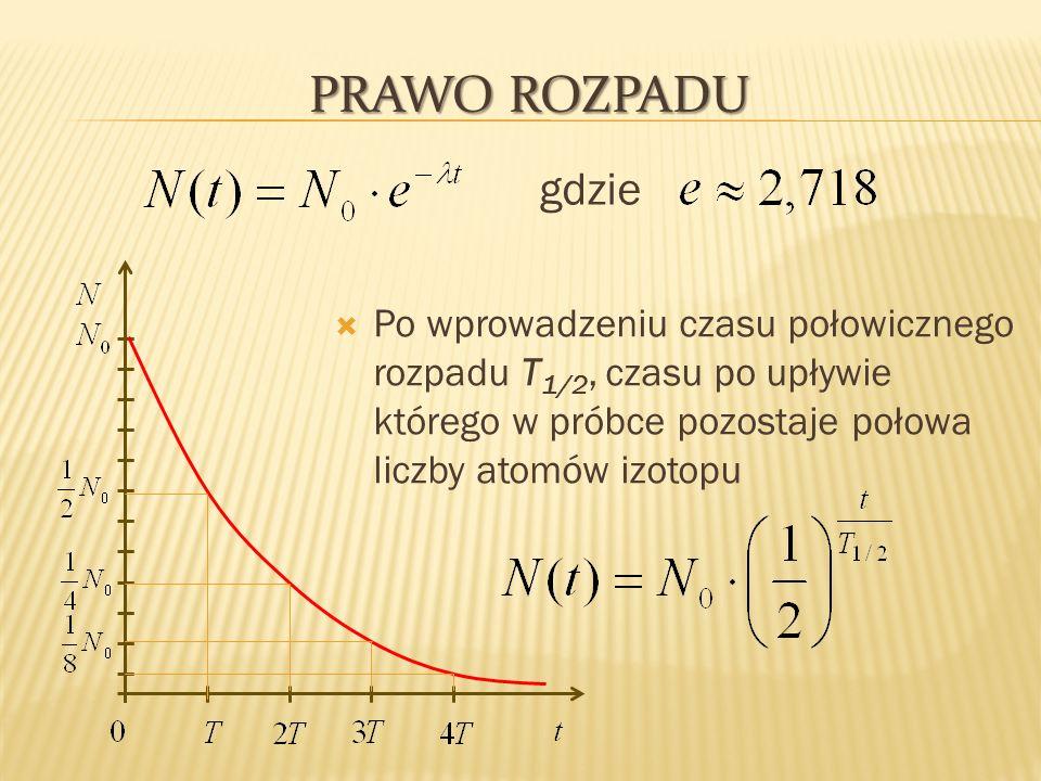 PRAWO ROZPADU Po wprowadzeniu czasu połowicznego rozpadu T 1/2, czasu po upływie którego w próbce pozostaje połowa liczby atomów izotopu gdzie