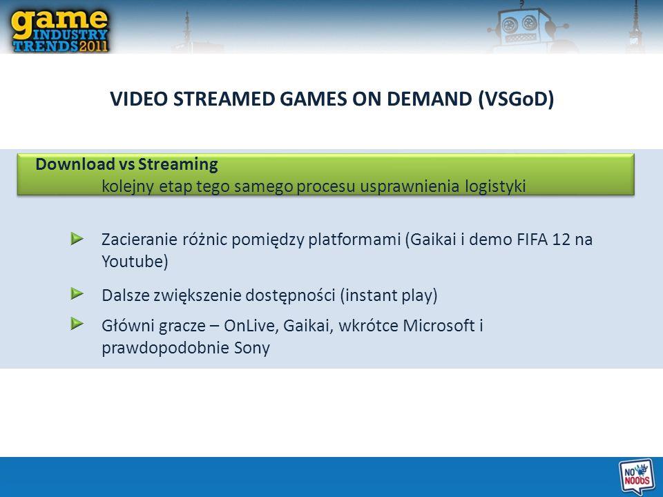 VIDEO STREAMED GAMES ON DEMAND (VSGoD) Download vs Streaming kolejny etap tego samego procesu usprawnienia logistyki Zacieranie różnic pomiędzy platfo