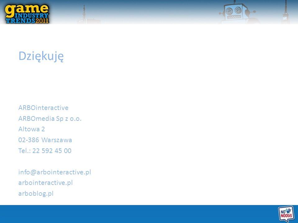 Dziękuję ARBOinteractive ARBOmedia Sp z o.o. Altowa 2 02-386 Warszawa Tel.: 22 592 45 00 info@arbointeractive.pl arbointeractive.pl arboblog.pl