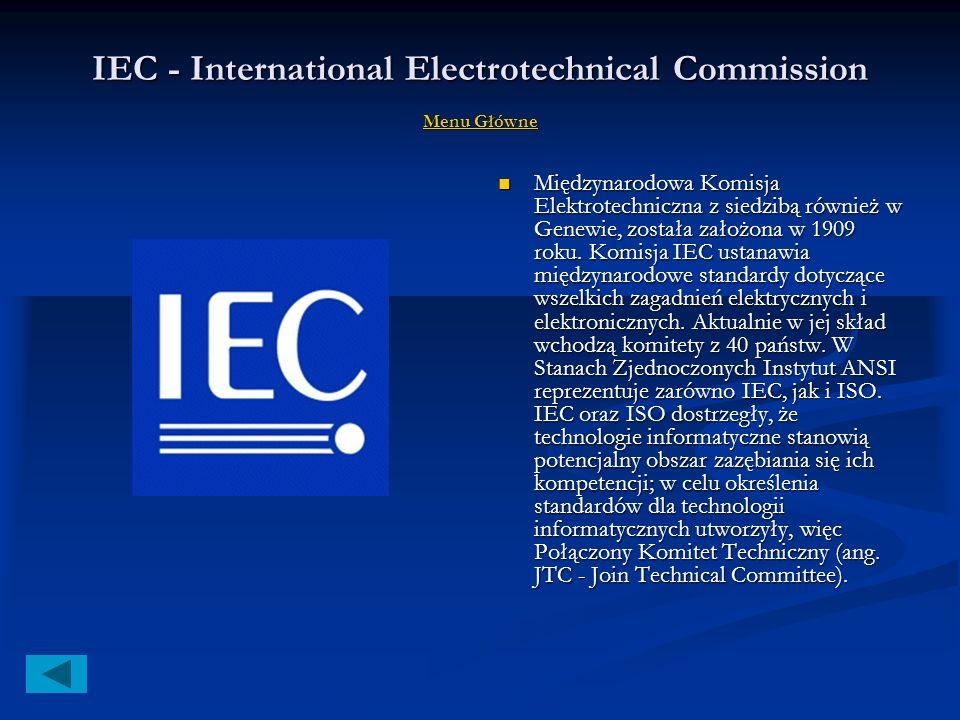 ISO - International Organization for Standardization Menu Główne Menu Główne Menu Główne Międzynarodowa Agencja Normalizacyjna została utworzona w 194