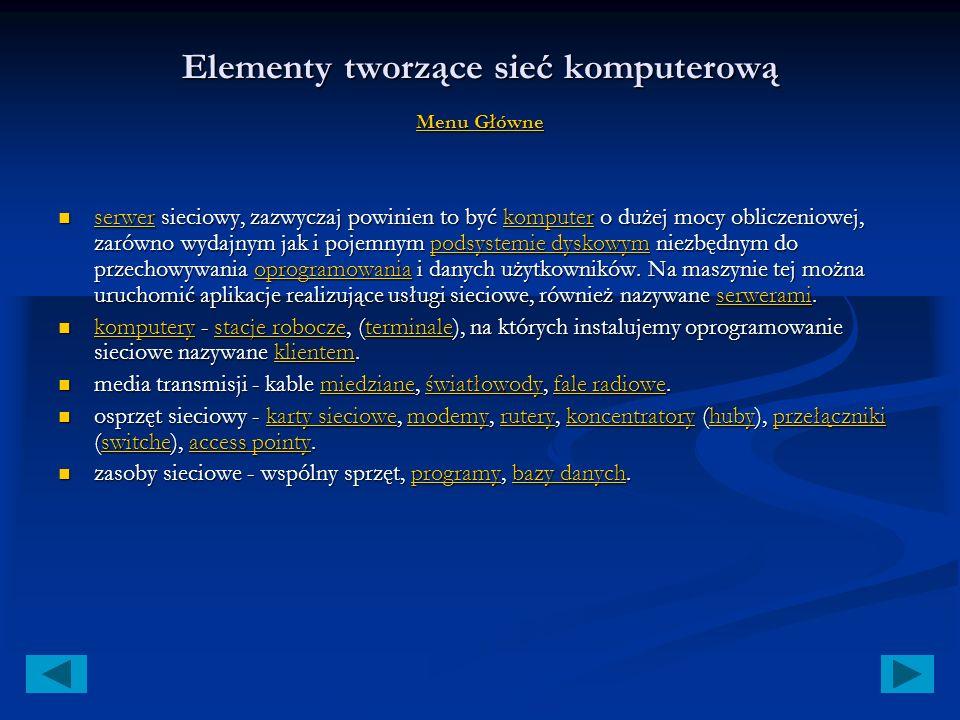 Menu Główne Rozwój LAN (teoria) Rozwój LAN (teoria) Rozwój LAN (teoria) Rozwój LAN (teoria) Elementy tworzące sieć komputerową Elementy tworzące sieć