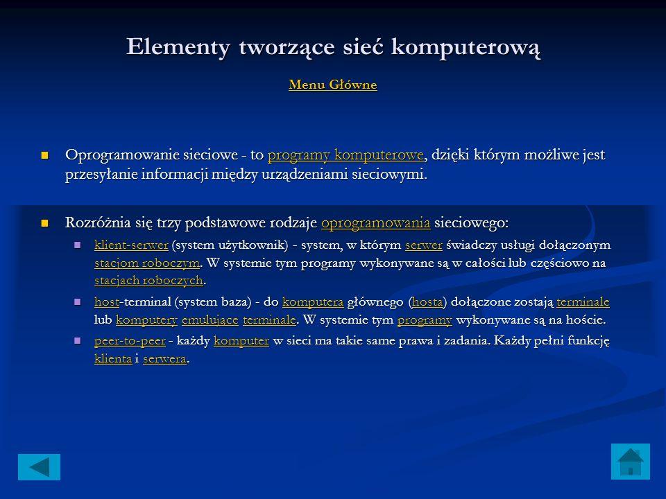 Elementy tworzące sieć komputerową Menu Główne Menu Główne Menu Główne serwer sieciowy, zazwyczaj powinien to być komputer o dużej mocy obliczeniowej,