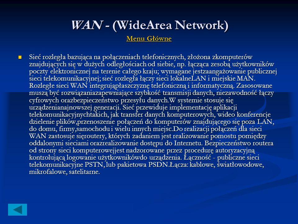 Topologia sieci Menu Główne Menu Główne Menu Główne Topologia jest to sposób okablowania sieci na określonym obszarze,czyli połączenia komputerów w je