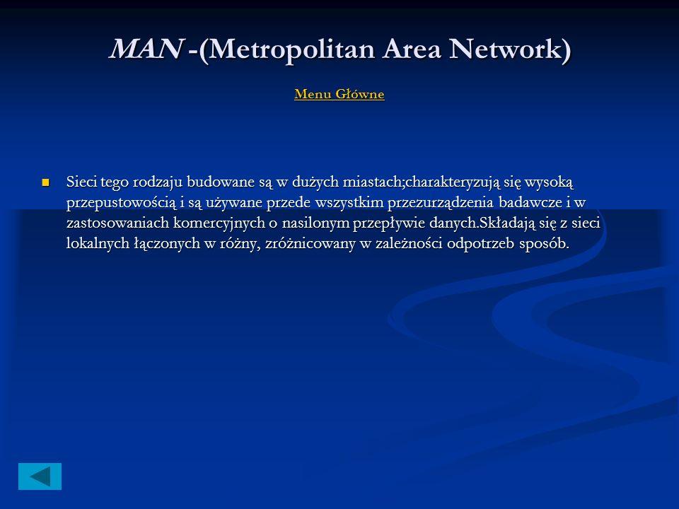 WAN - (WideArea Network) Menu Główne Menu Główne Menu Główne Sieć rozległa bazująca na połączeniach telefonicznych, złożona zkomputerów znajdujących s