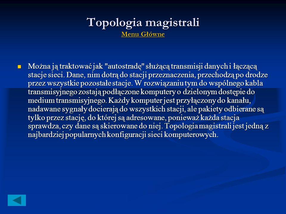 Topologia magistrali i łańcucha Menu Główne Menu Główne Menu Główne Topologia magistrali (ang. Bus) Topologia magistrali (ang. Bus) Ogólne informacje