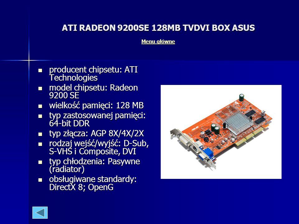 GeForce 6600GT 128MB TVDVI Overclocking ASUS Menu główne Menu główne Menu główne producent chipsetu: NVidia producent chipsetu: NVidia model chipsetu:
