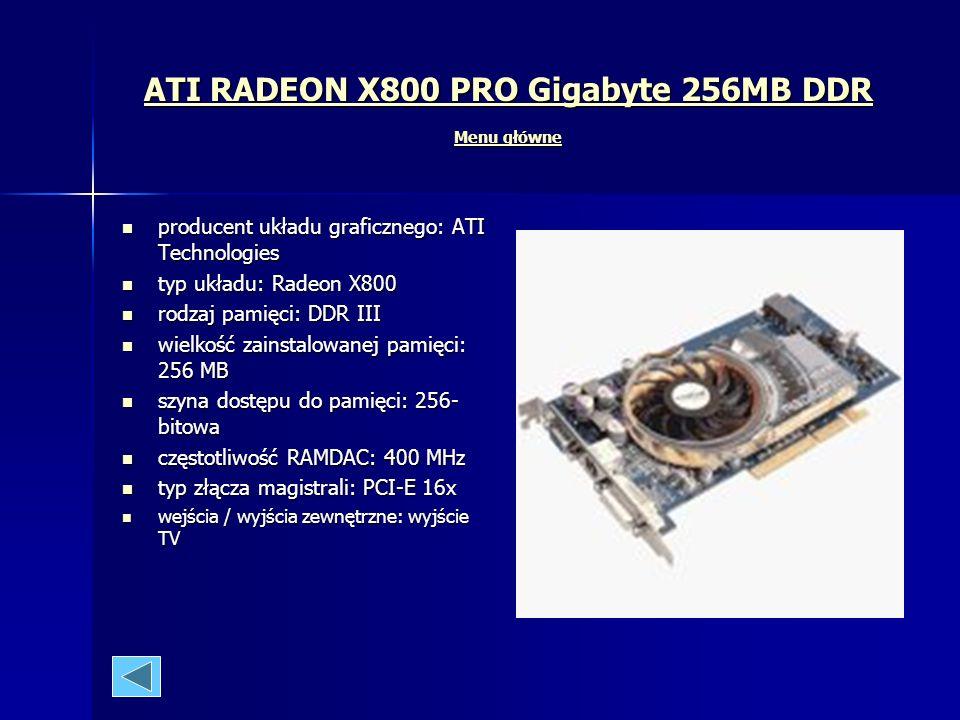 Przykłady kart graficznych Menu główne Menu główne Menu główne ATI ATI ATI RADEON 9200SE 128MB TVDVI BOX ASUS ATI RADEON 9200SE 128MB TVDVI BOX ASUS A