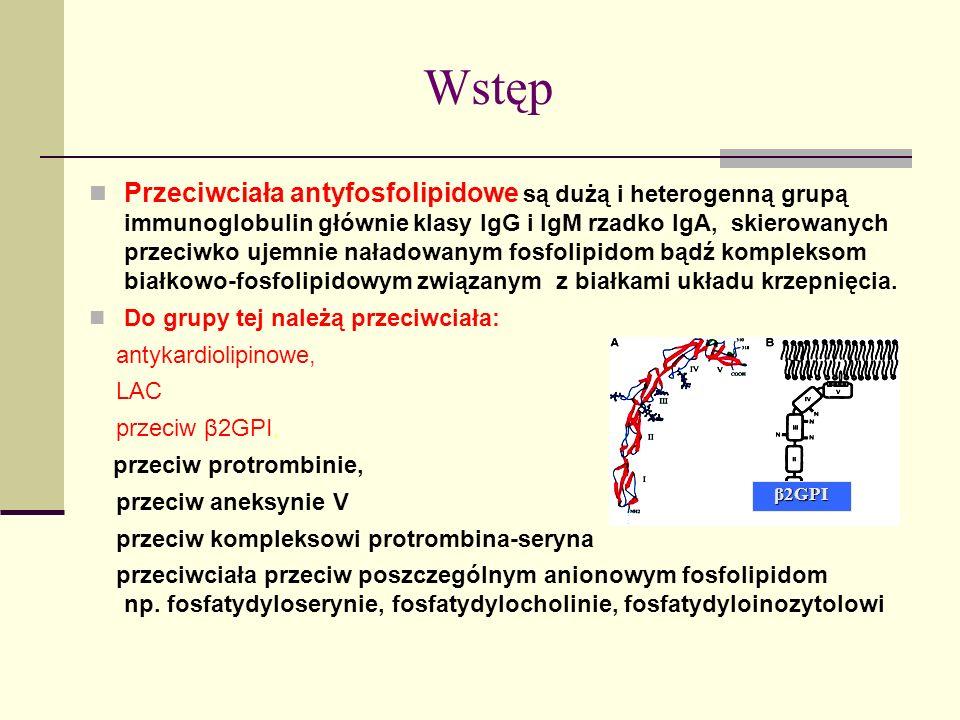 Wstęp Przeciwciała antyfosfolipidowe są dużą i heterogenną grupą immunoglobulin głównie klasy IgG i IgM rzadko IgA, skierowanych przeciwko ujemnie nał