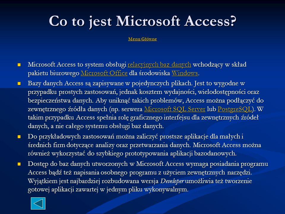 Co to jest Baza Danych? MMMM eeee nnnn uuuu G G G G łłłł óóóó wwww nnnn eeee Baza danych w aplikacji Microsoft Access jest kolekcją związanych ze sobą