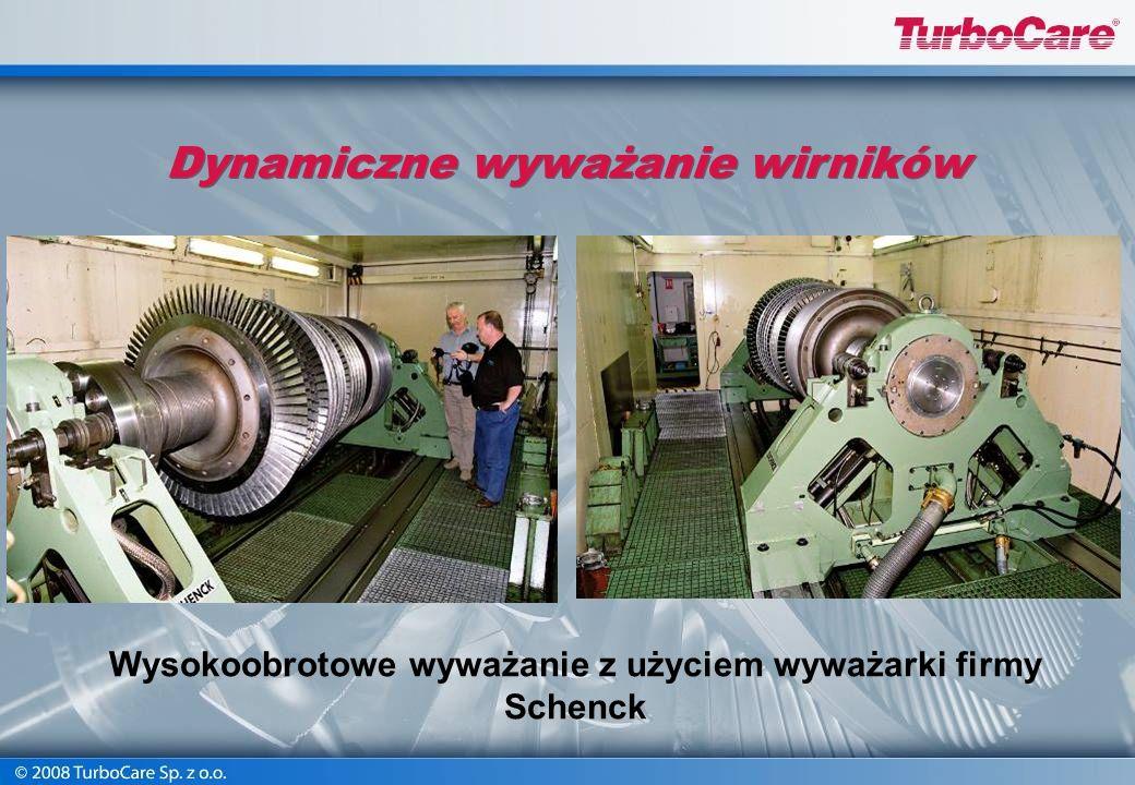 Wyważanie maszyną SCHENCK Obciążenie max 9000 kg Średnica max 2100 mm Prędk. obrotowe od 250 do 2080 obr/min