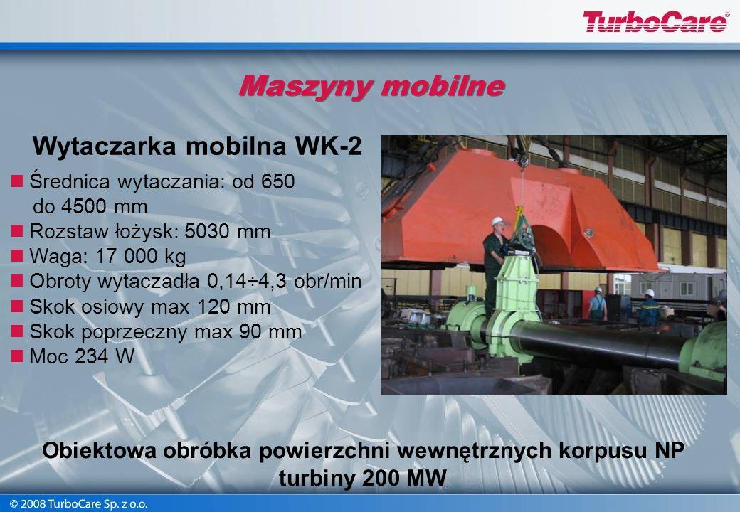 Maszyny mobilne Średnica toczenia: od 500 mm do 2600 mm Posuw promieniowy: do 90 mm skok osiowy: do 200 mm Max. długość wewnętrznej części korpusu: 46