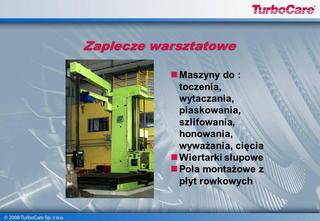 Zaplecze warsztatowe Powierzchnia 2400 m 2 Suwnica: - duży hak udźwig do 50 T - mały hak udźwig do 12,5 T Suwnica bramowa udźwig do 2 T Żurawie słupow