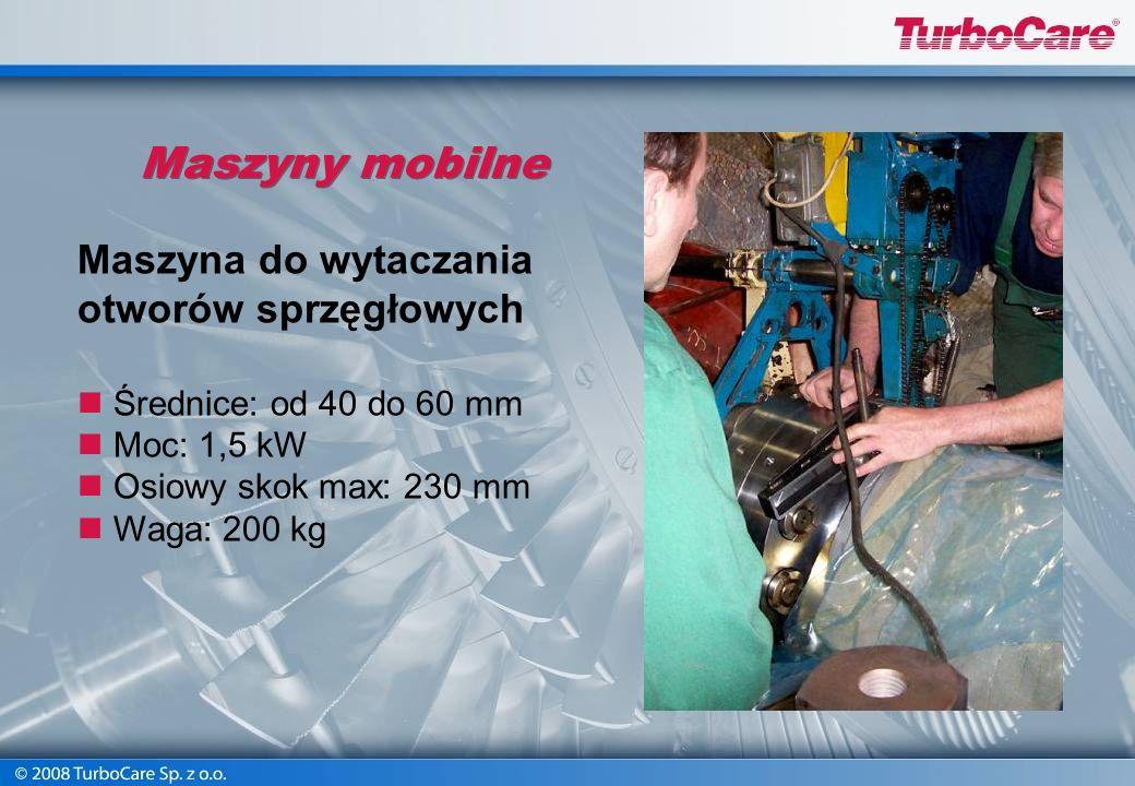 Maszyny mobilne Obróbka zewnętrznych powierzchni rur Średnice: od 120 do 190 mm Prędkość: 11,47 obr./min. Osiowy skok: 120 mm Promieniowy skok: 30 mm