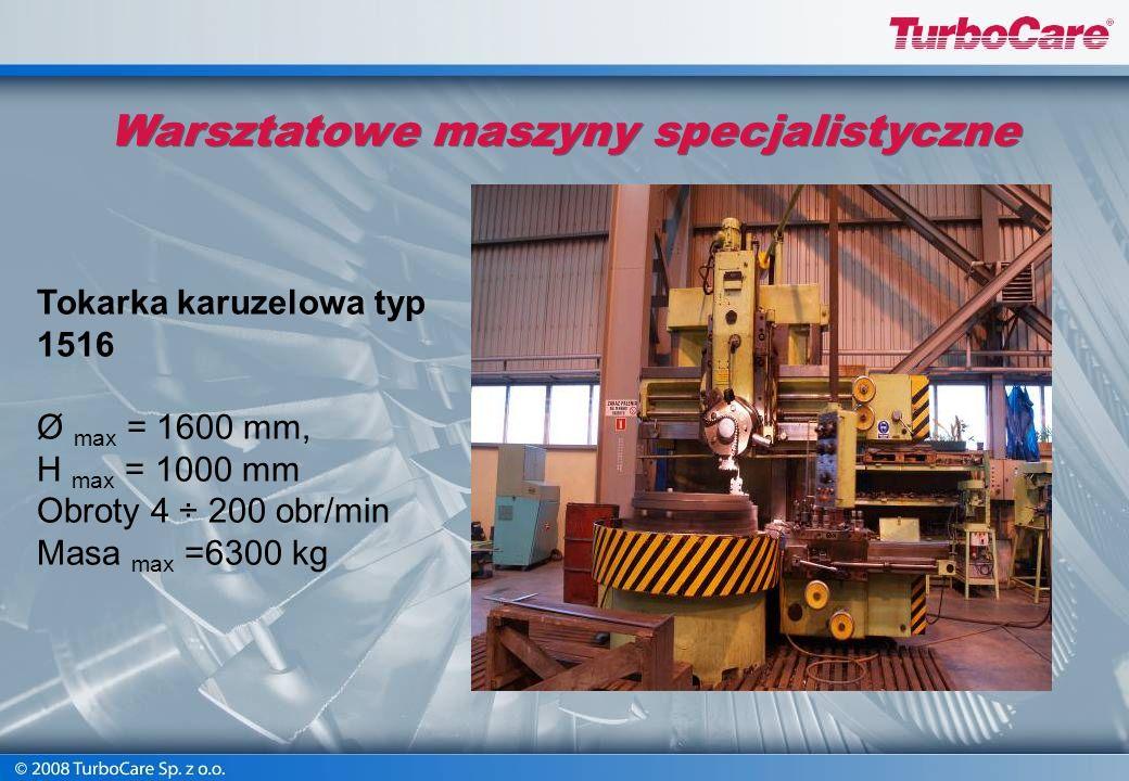 Warsztatowe maszyny specjalistyczne Tokarka karuzelowa Froriep Ø max =3500mm, udźwig=16t, przesuw w pionie = 3300 mm