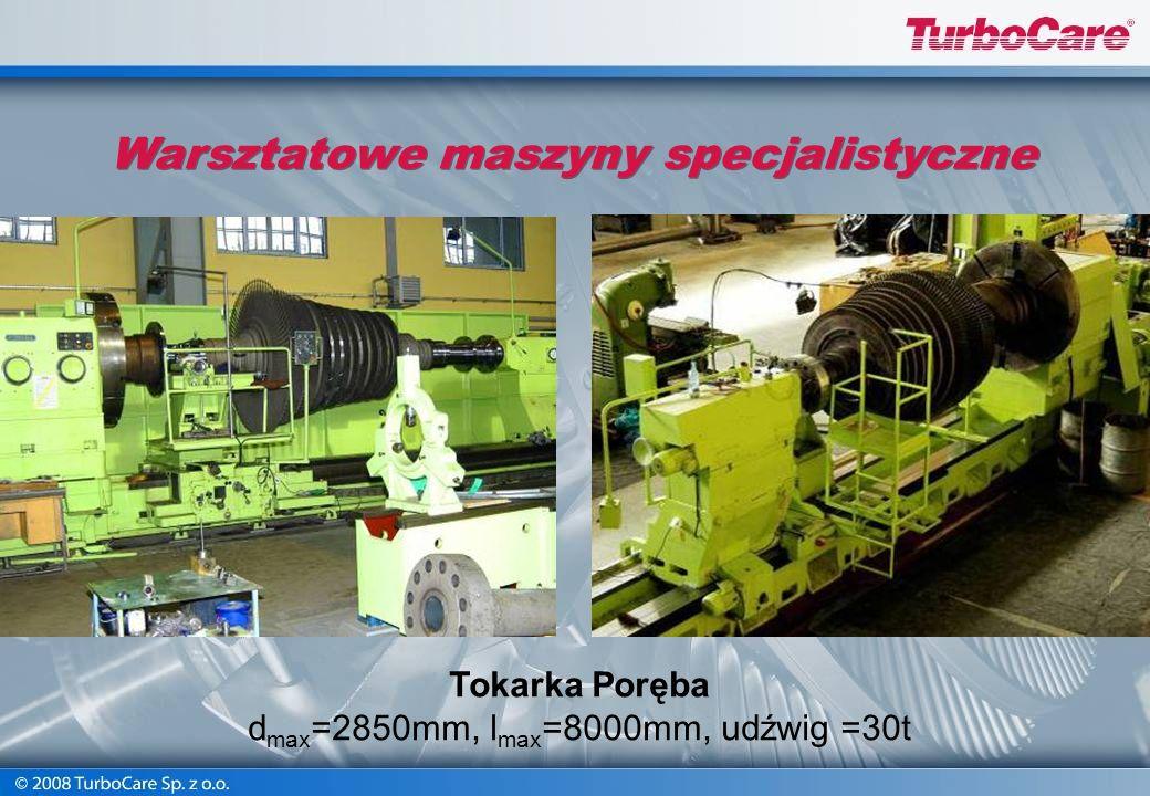 Tokarka karuzelowa typ 1516 Ø max = 1600 mm, H max = 1000 mm Obroty 4 ÷ 200 obr/min Masa max =6300 kg Warsztatowe maszyny specjalistyczne