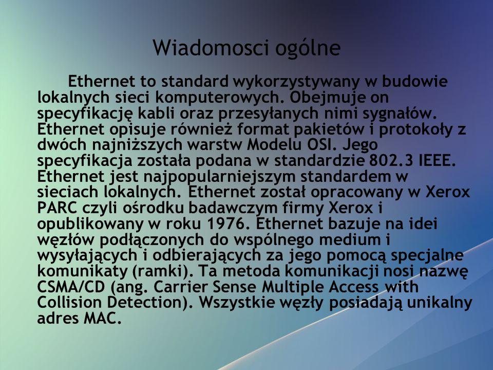 Wiadomosci ogólne Ethernet to standard wykorzystywany w budowie lokalnych sieci komputerowych. Obejmuje on specyfikację kabli oraz przesyłanych nimi s