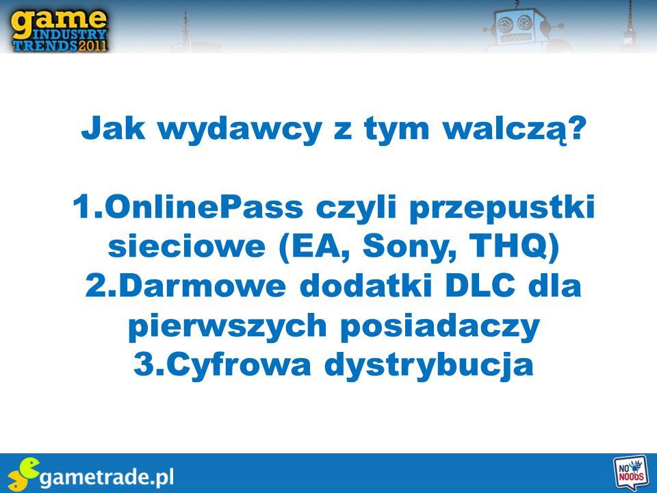 Jak wydawcy z tym walczą? 1.OnlinePass czyli przepustki sieciowe (EA, Sony, THQ) 2.Darmowe dodatki DLC dla pierwszych posiadaczy 3.Cyfrowa dystrybucja