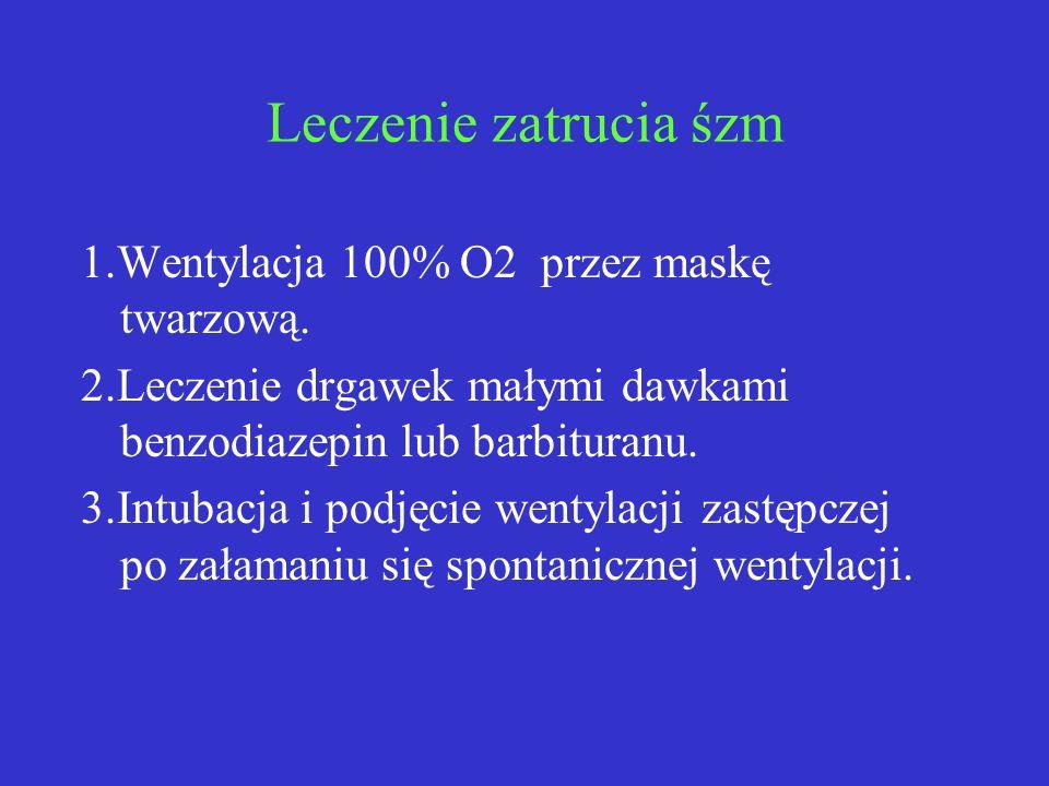 Leczenie zatrucia śzm 1.Wentylacja 100% O2 przez maskę twarzową. 2.Leczenie drgawek małymi dawkami benzodiazepin lub barbituranu. 3.Intubacja i podjęc