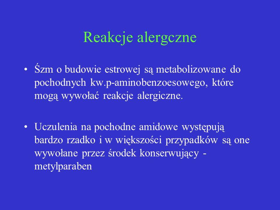 Reakcje alergczne Śzm o budowie estrowej są metabolizowane do pochodnych kw.p-aminobenzoesowego, które mogą wywołać reakcje alergiczne. Uczulenia na p